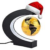 Globo Flotante de Levitación Magnética, Mapa de Mundial Rotativo Con LED, Para Decoración de Hogar y Oficina y Regalo de Creativo y Educacion de Geografia (Dorado)