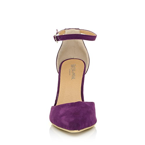 New York Grape Purple Faux Suede Ankle Strap Pointed High Heel Court Shoes 7eYoN