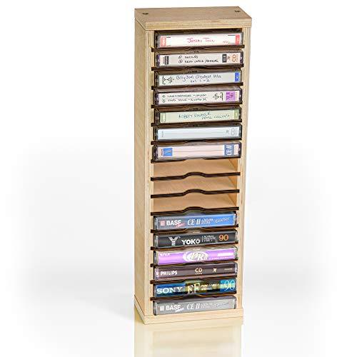TunePhonik Wooden 16 Slot Cassette Tape Storage Case -