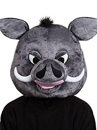 New Gordon Warthog Head Mask Adults Fancy Dress Animal Pig Boar Plush Accessory (Pig Warthog)