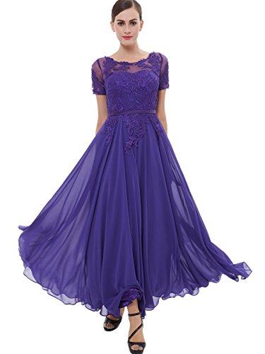 Tanpell Women's Long Evening Dresss Chiffon Formal Party Gown Purple 16 (Purple Gown Long)