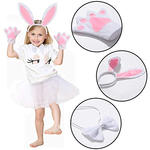 Bunny Headband Rabbit Ears Bunny Costume for Kids Halloween, Easter, Dress Up, Cosplay Accessories Set