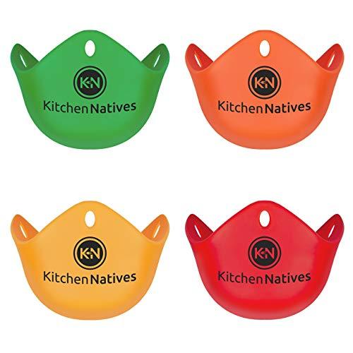 Egg Poachers - set of 4 multi-coloured non-stick silicone eg