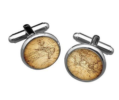 (etnecklace Vintage Silver World map Men Cufflinks)