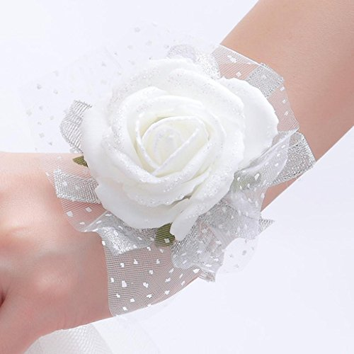 (One One Bridal® Wedding Bridal Women Girl Bridesmaid Exquisite Floral Hand Wrist Flower (T1221-White))