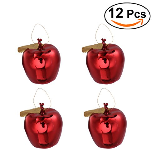 OULII Christmas Apples Plastic Glitter Apples Christmas Tree Hanging Ornaments Pack 12pcs - Christmas Tree Apple Ornaments
