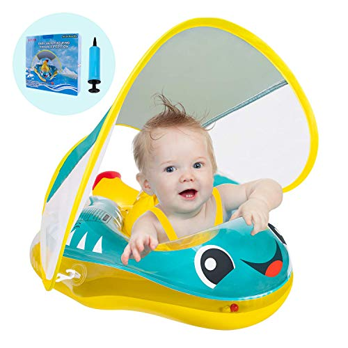 Baby Swimming Float Inflatable Baby Pool Float, Anti-Flip, Newest with Sun Protection Canopy & Bottom Support Tail, Infant Pool Float for Age of 10-24 Months