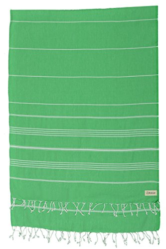 Bersuse 100% Cotton - Anatolia XL Blanket Turkish Towel - Bath Beach Fouta Peshtemal - Multipurpose Bed or Couch Throw, Table Cover or Picnic Mat - Striped - 61X82 Inches, Green (Set of 3)