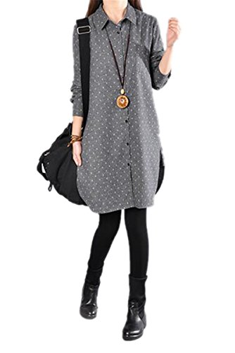 Autumn Wedding Invitation Wording (Hexu NEW New Spring Autumn Women dress Ladies Casual Cotton Linen shirtdress Fashion Plus Size Vestidos Robe grey XXL)