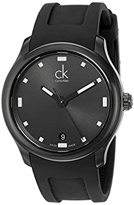 Calvin Klein Men's K2V214D1 'Visible' Black Dial Black Rubber Strap Swiss Quartz Watch
