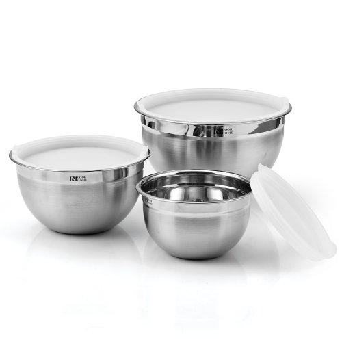 Cook N Home 3-Piece Stainless Steel Mixing Bowl Set with Lids, 1.5, 3, and 5 Quart
