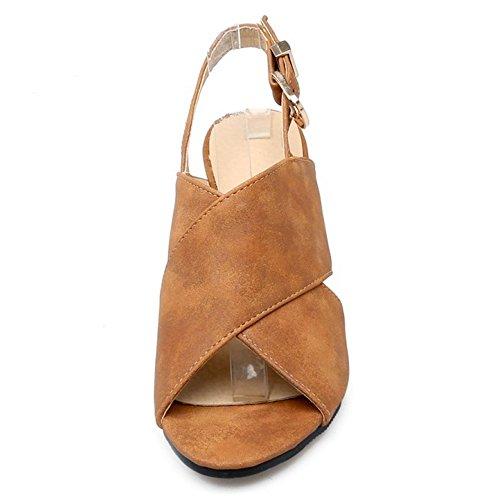 COOLCEPT Mujer Moda Punta Abierta Slingback Sandalias Tacon Alto Tacon De Cuna Zapatos Marron
