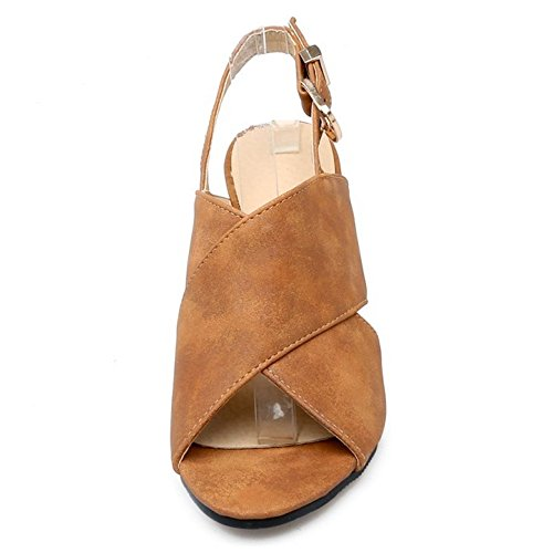TAOFFEN Mujer Moda Punta Abierta Slingbacks Sandalias Tacon Alto Tacon de Cuna Zapatos Marron