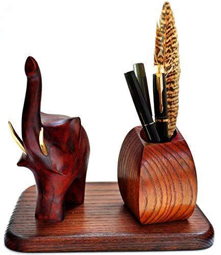 Pens Holder of Natural Wood, Pen/Pencil Cup Holder Elephant. Pen Holder for Desk. Gift for Birthday Man/Women, boss, Teacher, Mother's Day.Original Gift