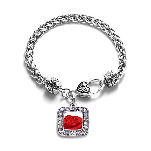 Inspired Silver - Red Rose Braided Bracelet for Women - Silver Square Charm Bracelet with Cubic Zirconia Jewelry ()