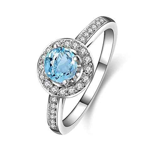 Adisaer Mothers Day Mom Gifts Women's Ring S925 Width 5Mm Round Blue Topaz Ring Size - Topaz Ct White 4 Gold Blue Ring 14k