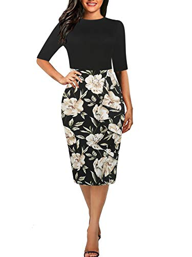 Women's Vintage White Flower Round Neck Cocktail Slim Pencil Dress Black White S