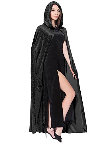 Women's Costume Crushed Velvet Hooded Cape Halloween Cosplay Cloak (Adults, Black) (Medieval Girl Costume Ideas)
