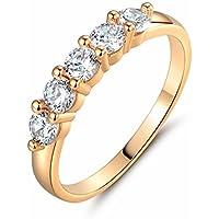 Siam panva 18k gold filled white round Simulated Diamond Prong Setting band ring Sz5-Sz8.5 (7)