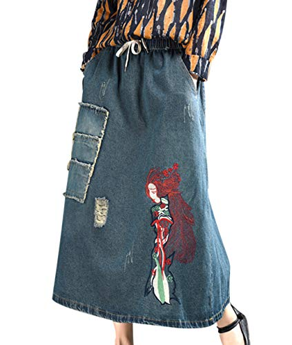 - Women Girls Lovely Long Maxi Casual Loose Comfy Denim Skirts 'Girl with Long Hair' Embroidered Ripped Patchwork & Cuts/Pockets YAA