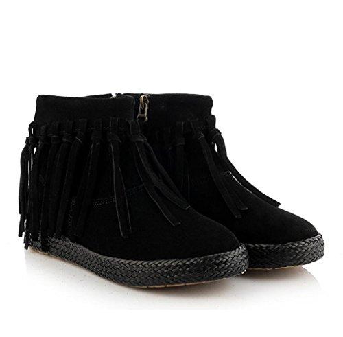 stivali stivali stivali nappa di 36 delle genuino BLACK della cuoio NSXZ donne pelle caviglia 38 intrecciato qSY40wt