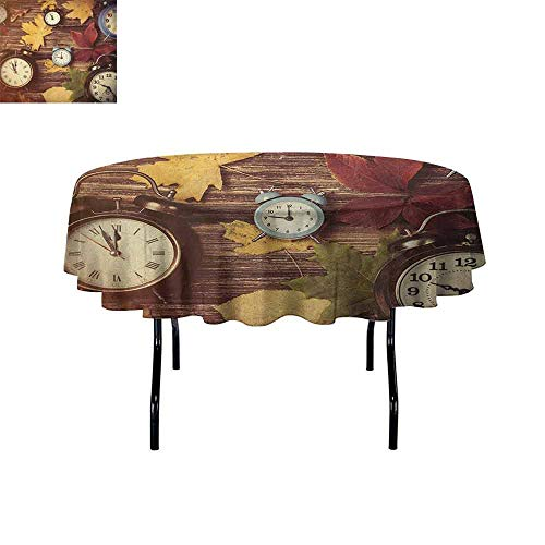 - Douglas Hill Fall Printed Tablecloth Different Colored Dry Maple Leaves and Various Alarm Clocks on Wooden Planks Print Desktop Protection pad D40 Inch Multicolor