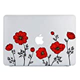 MacBook Air 13 Inch Case 2019 2018 Release A1932, Red Poppy Flower Clear See, Transparent Hard Shell Case Cover with Retina Display Fits Touch ID