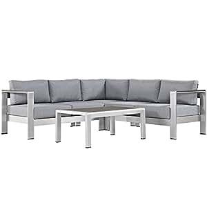 Shore 4 Piece Outdoor Patio Aluminum Sectional Sofa Set in Silver Gray