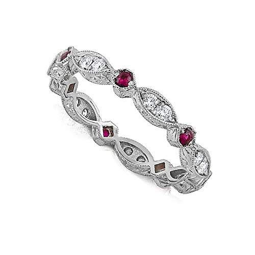 (Octagon Marquise Red Rubies Diamonds Gold Eternity Wedding Band Hand Engraved 2.6mm Wide)