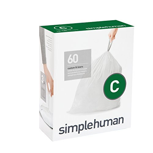 simplehuman Code C Custom Fit Liners, Drawstring Trash Bags, 10-12 Liter / 2.6-3.2 Gallon, 3 Refill Packs (60 Count) (Simplehuman Code C Liners compare prices)