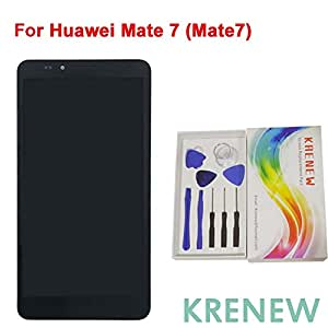 KRENEW Touch Screen Replacement Digitizer Glass LCD Frame Housing & Repair Assembly Kit for Huawei Ascend Mate7 MT7 (Black + Frame)