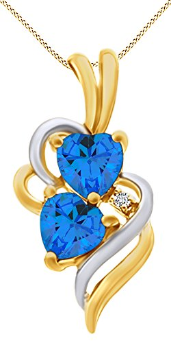 (AFFY Simulated Blue Topaz & White Cubic Zirconia Double Swirl Heart Two Tone Pendant Necklace in 14k Yellow Gold Over Sterling Silver )
