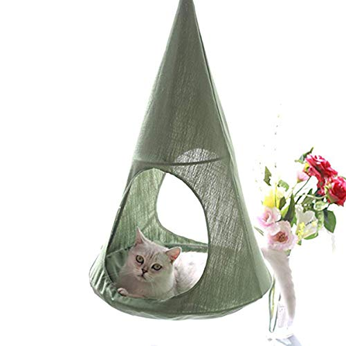 ALXDR Cat Hammock Hanging Type Kitten Bed Detachable Pet Linen Sling Attic Multi-useage Breathable Loft for Summer Living, Green ()