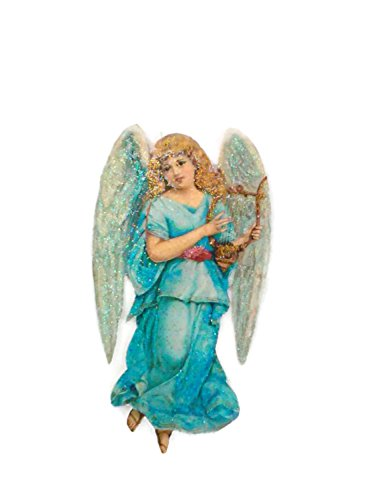 Christmas Tree Ornament Decoration Blue Angel playing Harp (Postcard Christmas Angel)