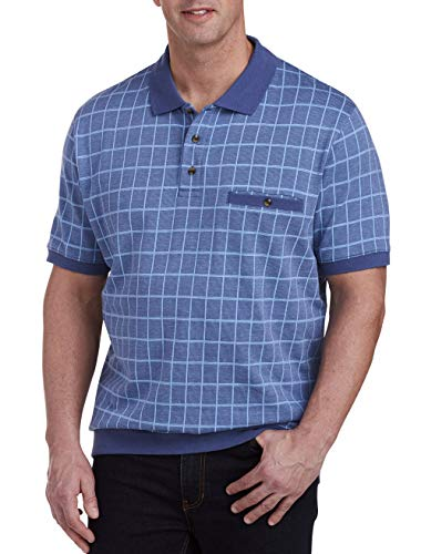 Harbor Bay by DXL Big and Tall Checkered Banded Bottom Polo Shirt, Blue Multi, 3XL