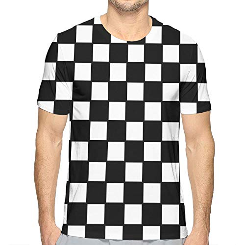 Flying XIE Males Chequered with Black and White Checkerboard Fashion 3D Creative Print T-Shirt Short Sleeve Tees