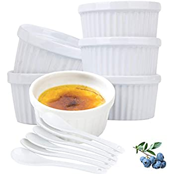 Souffle Dish Ramekins for Baking - 4 Ounce (6 PACK, White with 6 Extra Spoons) 4 Oz, Half Cup Ceramic Oven Safe Round Ramekin Bowls for Condiments Sauces Dips Dressings Desserts Puddings Custards Cups