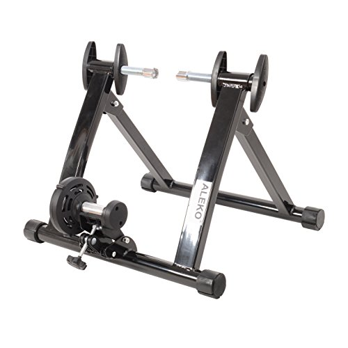 ALEKO MBT01 Portable Indoor Magnetic Bicycle Exercise Trainer Bike Stand with Noise Reduction Wheel Black by ALEKO (Image #3)