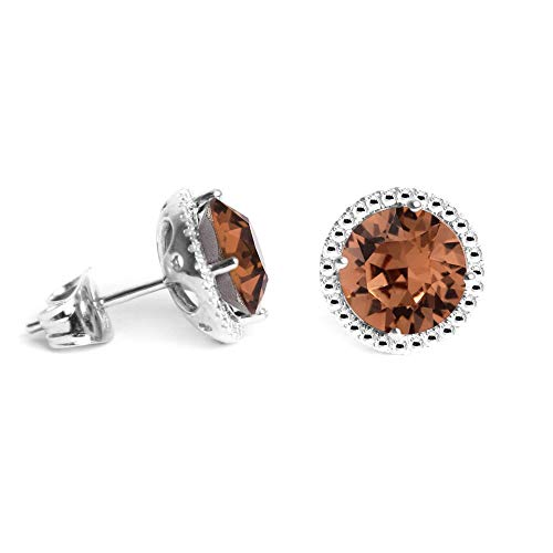 (Swarovski Earrings, June Birthstone Smoky Quartz Color Swarovski Stud Earrings for Women and Girls, Swarovski Crystal Earring Studs with Certificate and Warranty, Hypoallergenic Stud Earrings)