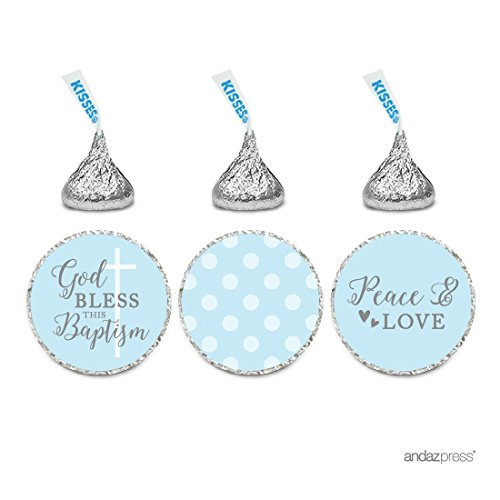 Andaz Press Baby Blue and Gray Boy Baptism Collection, Chocolate Drop Label Stickers Trio, 216-Pack, Fits Hershey's Kisses Party Favors