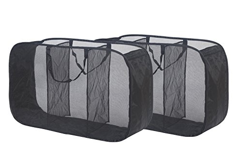 Deluxe Laundry Hamper - STORAGE MANIAC 3 Compartment Mesh Pop Up Laundry Sorter Hamper, Open Toy Storage, 2-Pack, Black