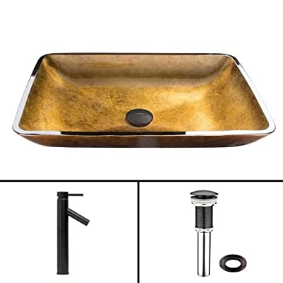 VIGO Rectangular Copper Glass Vessel Bathroom Sink and Dior Vessel Faucet with Pop Up, Antique Rubbed Bronze