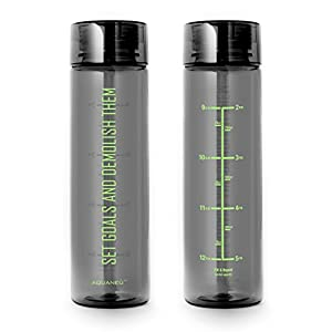32 oz Inspirational Fitness Workout Sports Water Bottle with Time Marker | Measurements | Goal Marked Times For Measuring Your H2O Intake, BPA Free Non-toxic Tritan (goals graph grn)