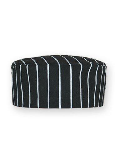 Newchef Fashion Black & White Pinstripe Skull Cap M Black White