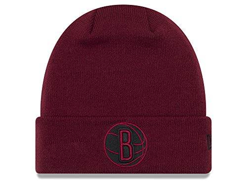 Jersey New Nets Acrylic (Brooklyn Nets Currant Red Cuffed Fall Time Beanie Hat - NBA Cuff Knit Toque Cap)