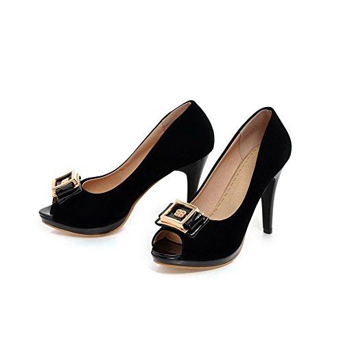 AgooLar Mujeres Peep Tacón de aguja con Metal Sólido Sin cordones Sandalia Negro