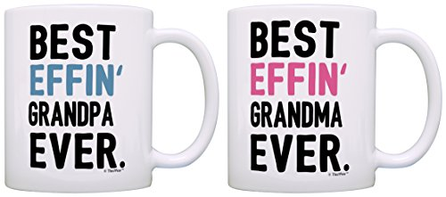 Grandma Grandpa Gifts Best Effin Grandma and Grandpa Ever Bundle Funny Grandparent Gifts 2 Pack Gift Coffee Mugs Tea Cups White (Grandma Mug 1)
