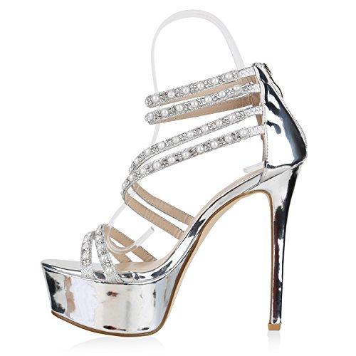 Stiefelparadies Damen Sandal Boots High Heels Schaftsandaletten Metallic Schuhe Flandell Silber Cabanas