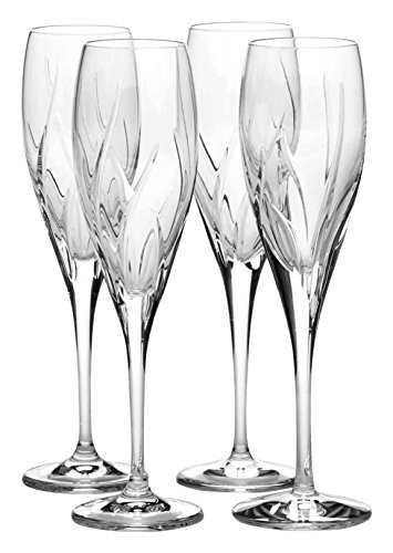 Mikasa Agena Crystal Champagne Flute, 6-Ounce, Set of 4