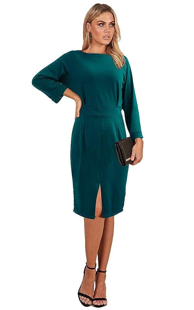Longwu Women's Elegant Long Sleeve Open Back Front Slit Pencil Dress Zipper Dress-G-L33-DZ094